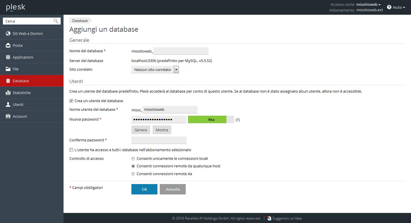 Come creare un database in plesk
