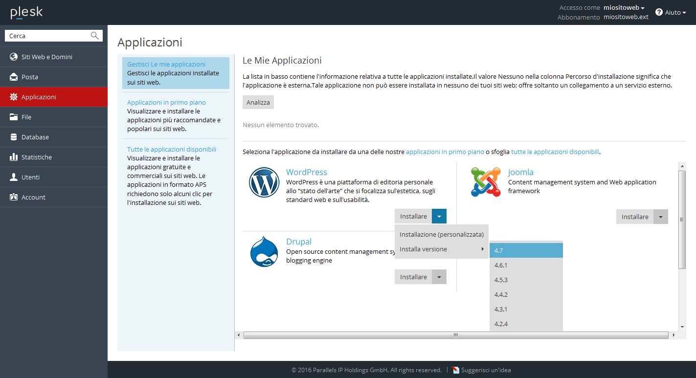 Selezione versione wordpress dall'application installer