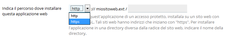 Selezione protocollo wordpress application installer