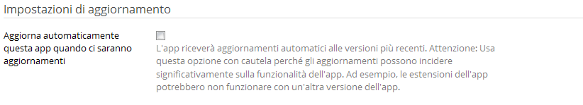 Aggiornamenti automatici nell'application installer