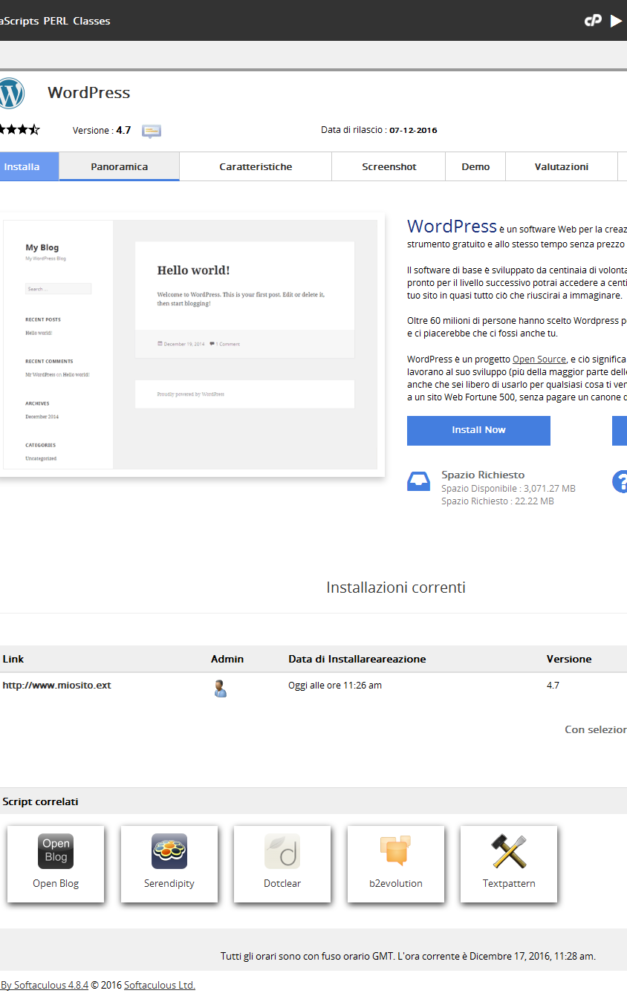 Come installare WordPress su CPanel con Softacolous