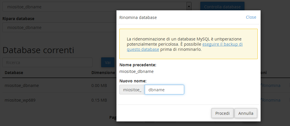 Modifica nome DB CPanel