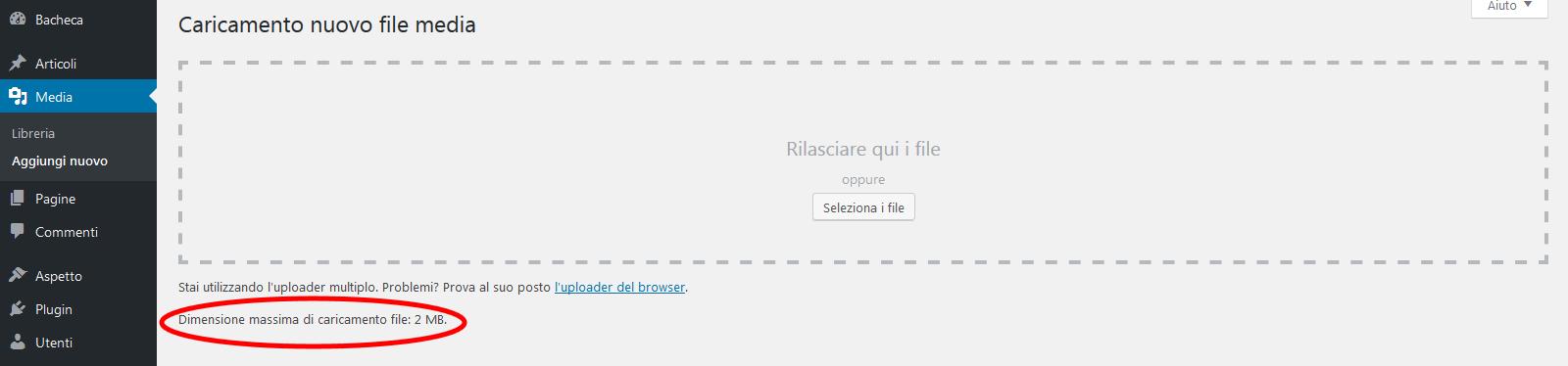 Come aumentare l'upload delle immagini in WP tramite plesk