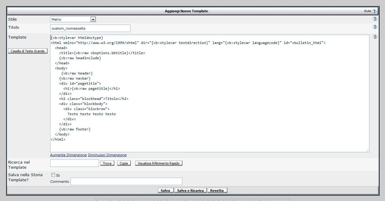 Immagine della guida Creare una pagina personalizzata su vBulletin 4 con il sistema dei template del sito Cionfs.it