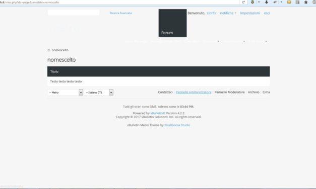 Creare una pagina personalizzata su vBulletin 4 con il sistema dei template