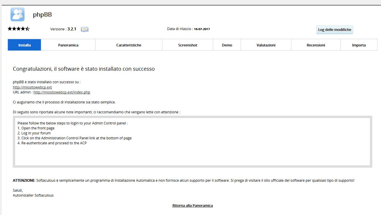 Come installare phpBB tramite CPanel