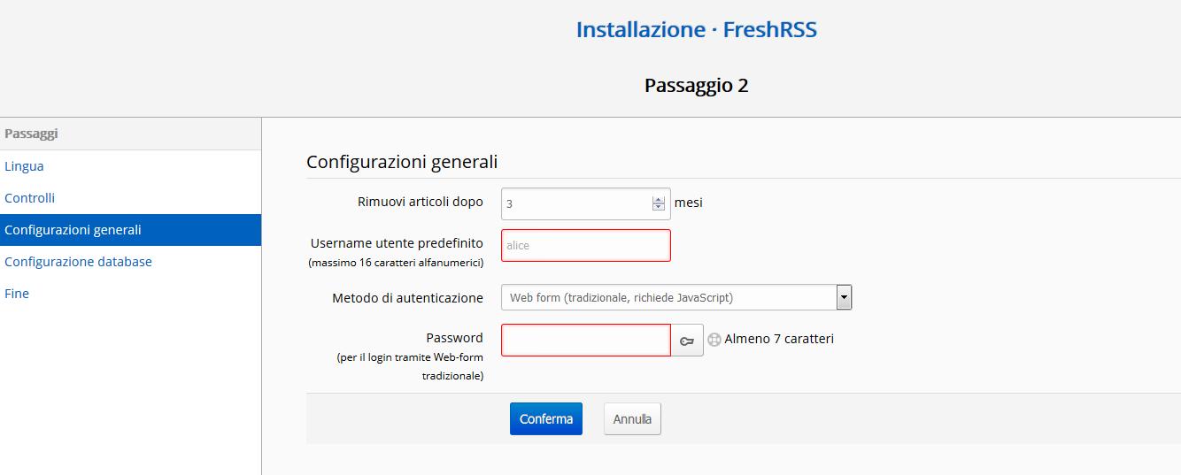 Come installare FreshRSS