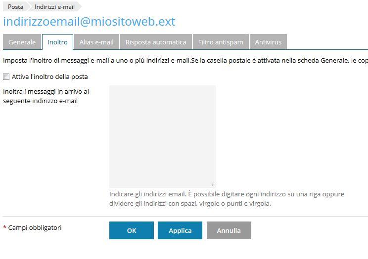 Come creare un inoltro email in plesk