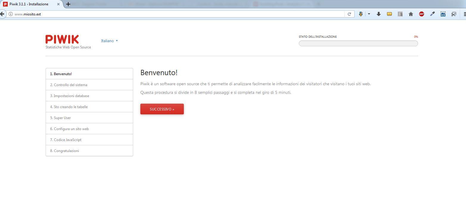 Immagine della guida Come installare Piwik del sito Cionfs.it