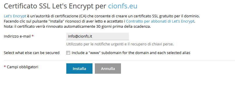 Come installare let's encrypt (SSL Gratuito) su Plesk