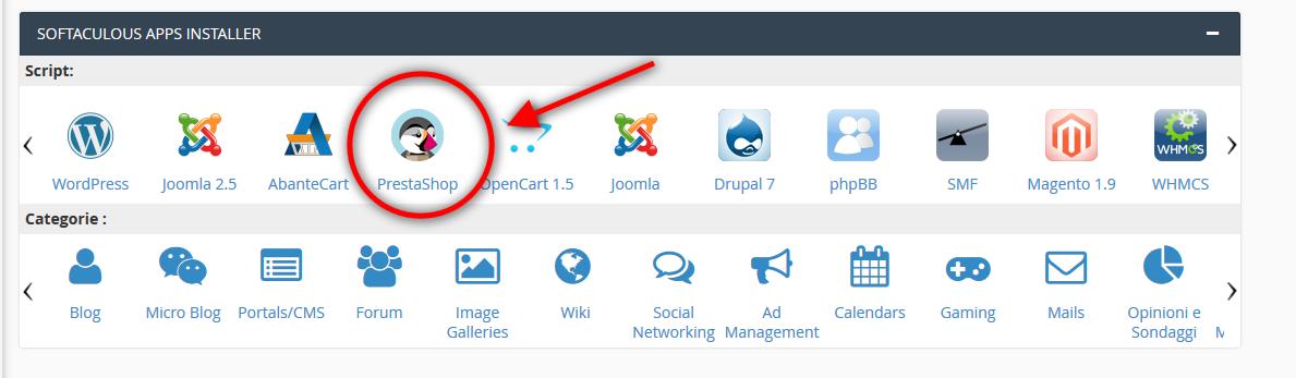 Come installare PrestaShop su Cpanel con Softaculous