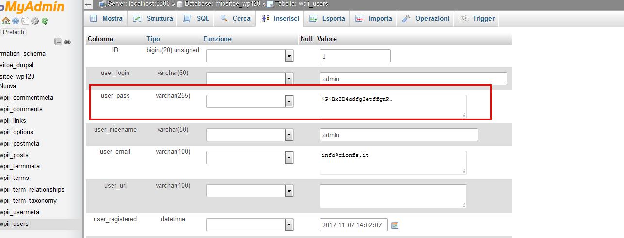 Immagine della guida Come resettare la password persa/dimenticata di WordPress del sito Cionfs.it