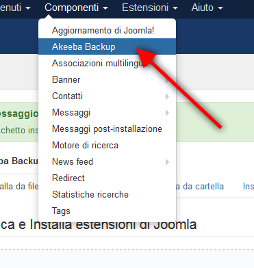 Come fare un backup su Joomla! con Akeeba Backup