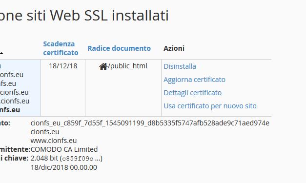 Come installare il certificato SSL su CPanel
