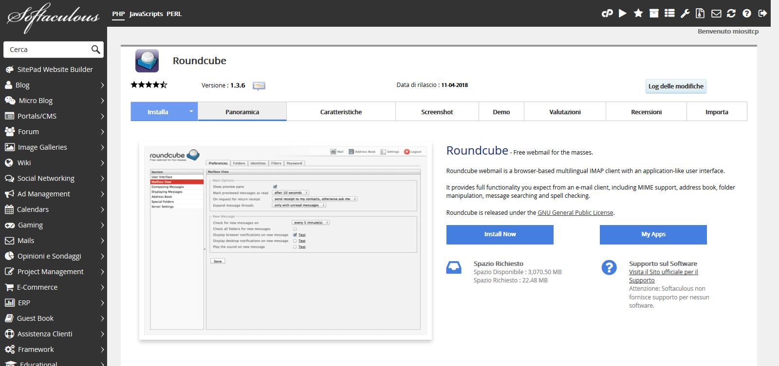 Come installare automaticamente RoundCube WebMail