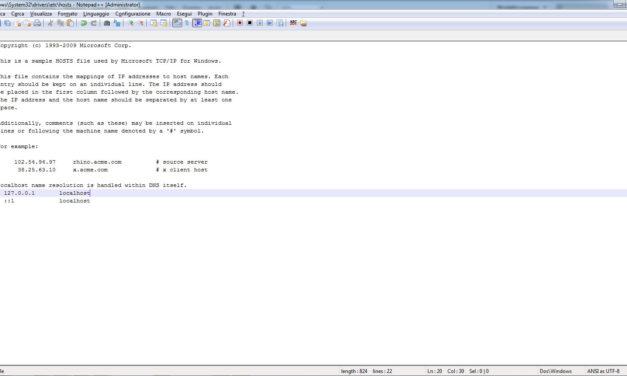 Come modificare il file host su windows