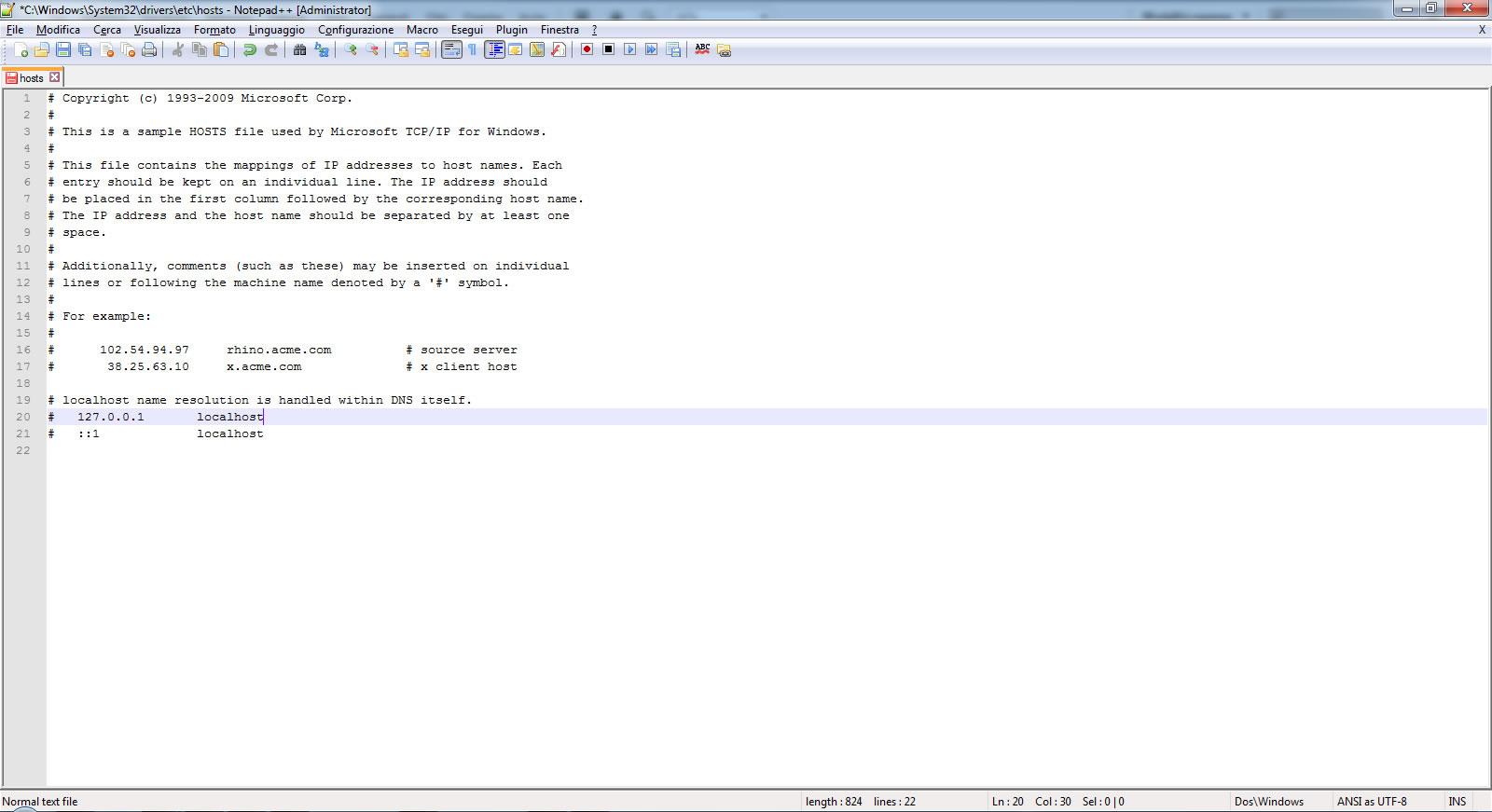 Immagine della guida Come modificare il file host su windows del sito Cionfs.it