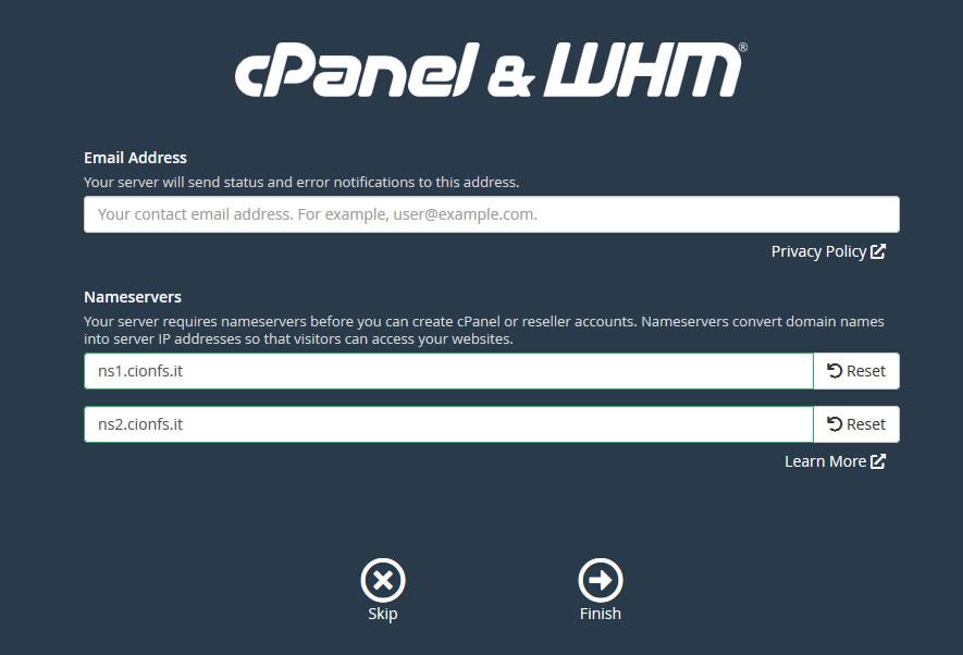 Immagine della guida Come installare CPanel del sito Cionfs.it