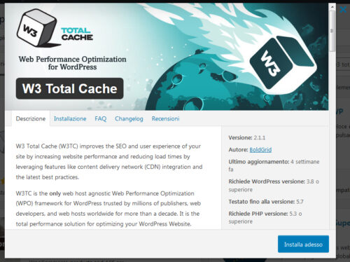 Immagine della guida W3 Total Cache del sito Cionfs.it