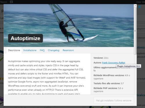 Immagine della guida Autoptimize del sito Cionfs.it