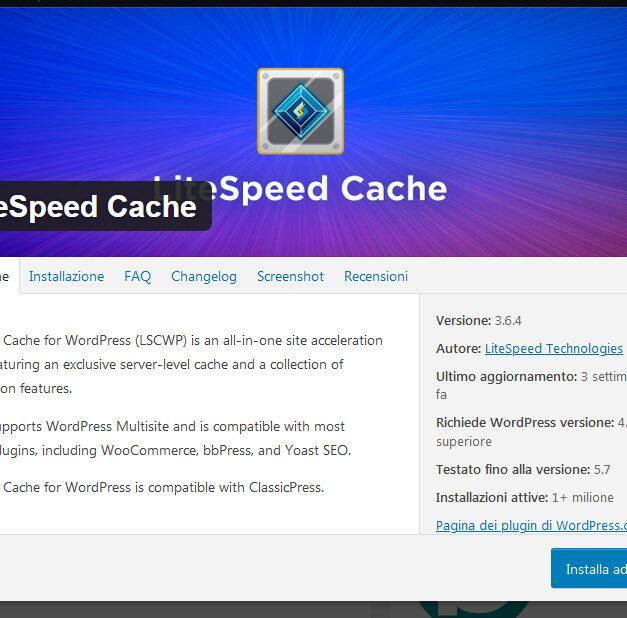 Litespeed Cache plugin per WordPress